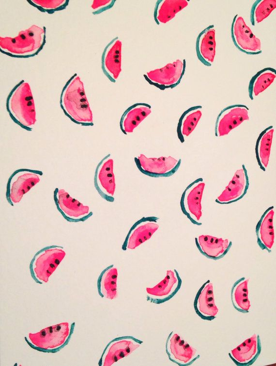 Watermelon Summer Watercolor Notecard by SunsetandPark on Etsy