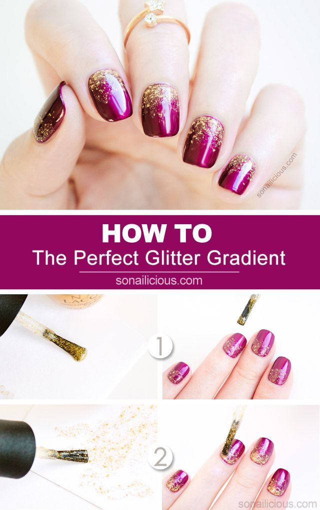 2 Genius Tips For A Perfect Glitter Gradient + Tutorial. Polish used:  OPI Kiss Me Or Elf and glitter used: OPI Don't Speak Pure 18K Gold