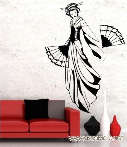 Geisha en vinilo decorativo, ideal para decorar cualquier espacio moderno. Este sticker decorativos es una de nuestra novedades del catalogo Zen. http://www.visualvinilo.net/vinilos-decorativos/vinilos-decorativos-etnico/
