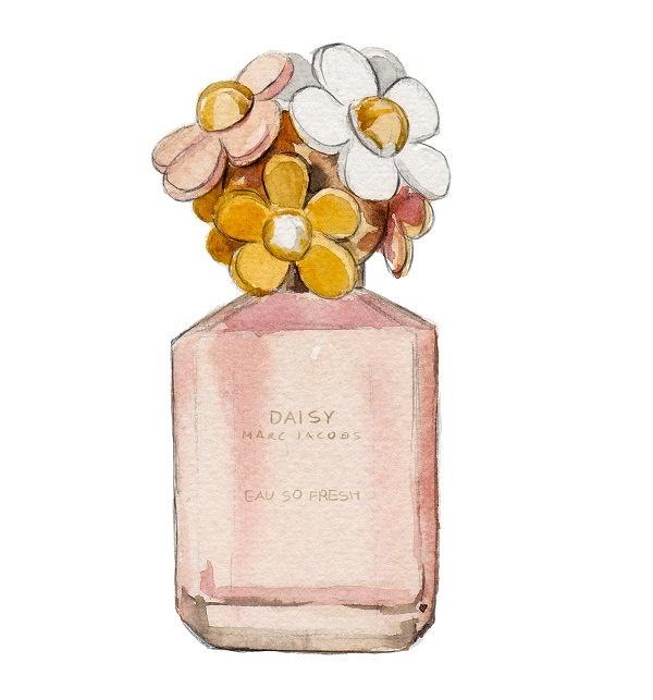 Watercolor Fashion Illustration, Marc Jacobs, Daisy Eau So Fresh Perfume Bottle, Art Print. $10.00, via Etsy.
