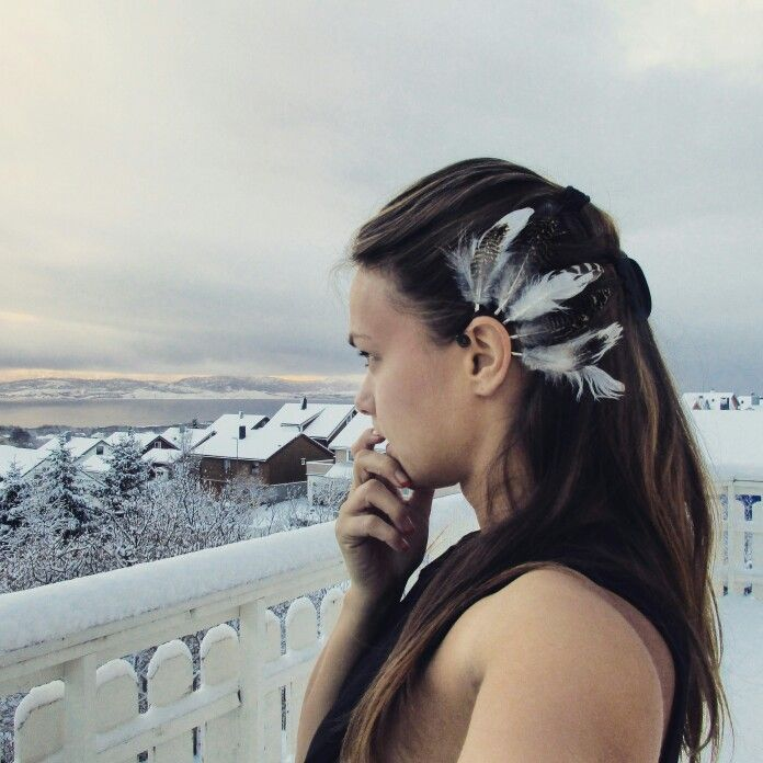 Second ear cuff made from grouse feathers