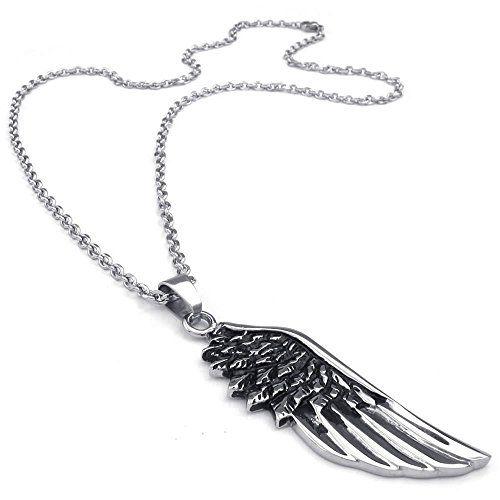 "KONOV Jewelry Mens Angel Wing Stainless Steel Pendant Necklace, Black Silver, 26"" inch Chain KONOV Jewelry http://www.amazon.com/dp/B00LEA1MKM/ref=cm_sw_r_pi_dp_oOcPvb1XNJ526"