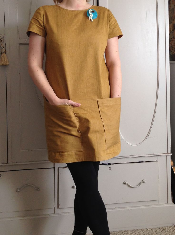 The camber dress in denim. Merchant and mills pattern