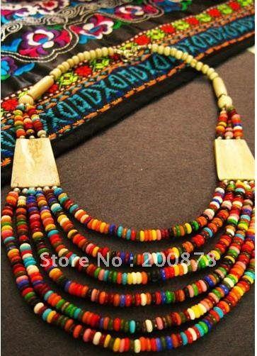 Tibetan colorful Yak bone beaded necklace,multi strands statement, ethnic fashion Bohemian