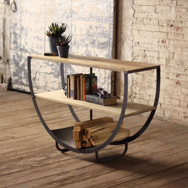 Half moon console rustic decor pinterest firewood for Sofa table for plants