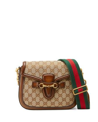 Lady Web Medium Original GG Canvas Shoulder Bag, Beige by Gucci at Neiman Marcus.