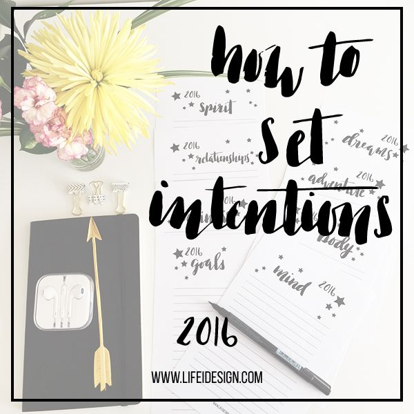 Have fun and learn how to set intentions for 2016 by downloading and  printing these free sheets designed by Nicki Traikos of lifeidesign.com