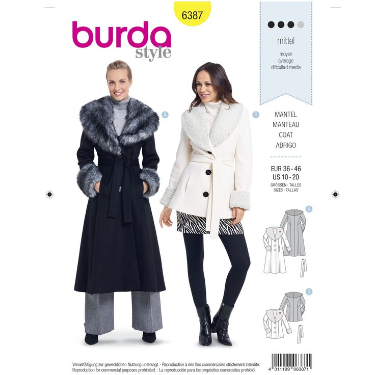 A Misses Fitted Coat Will Keep You Warm And Stylishly Up To Date In Spite Of The Cold This Classic Feminin Shawl Collar Coat Coat Pattern Sewing Burda Style