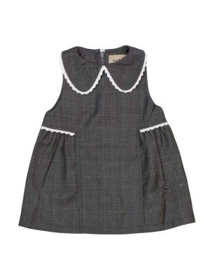 MeMini Ragna Dress, Grey Checked, Grårutet finkjole til baby