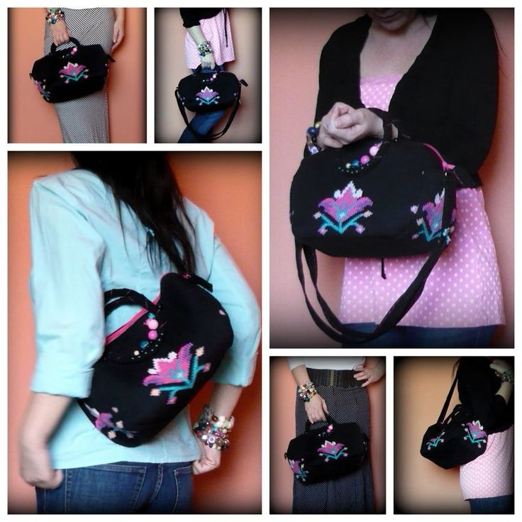 Handmade by Judy Majoros - Knitted embroidered beaded handbag-crossbody bag-shoulder bag. Recycled bag. pink-black