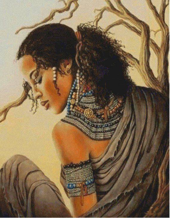 African Decor Cross Stitch Pattern-Printable Black…