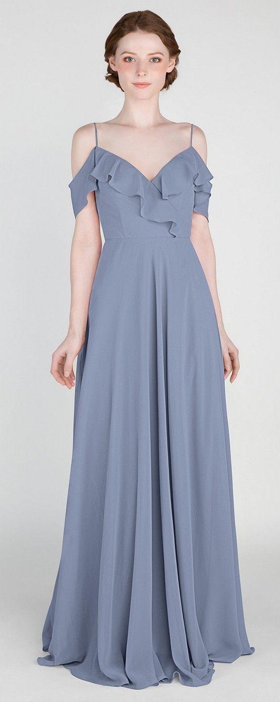 Off Shoulder Ruffled Bridesmaid Dress with Spaghetti Straps #bridalparty #bridesmaiddresses