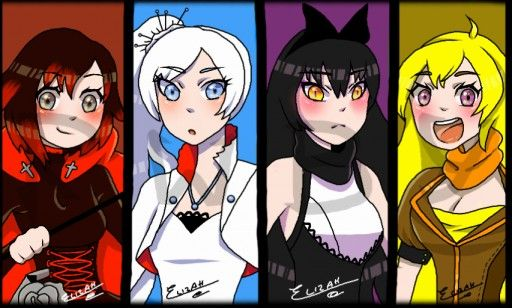 #Rwby #TeamRWBY #Ruby #Weiss #Blake #Yang #RubyRose #Red #White #Black #Yellow