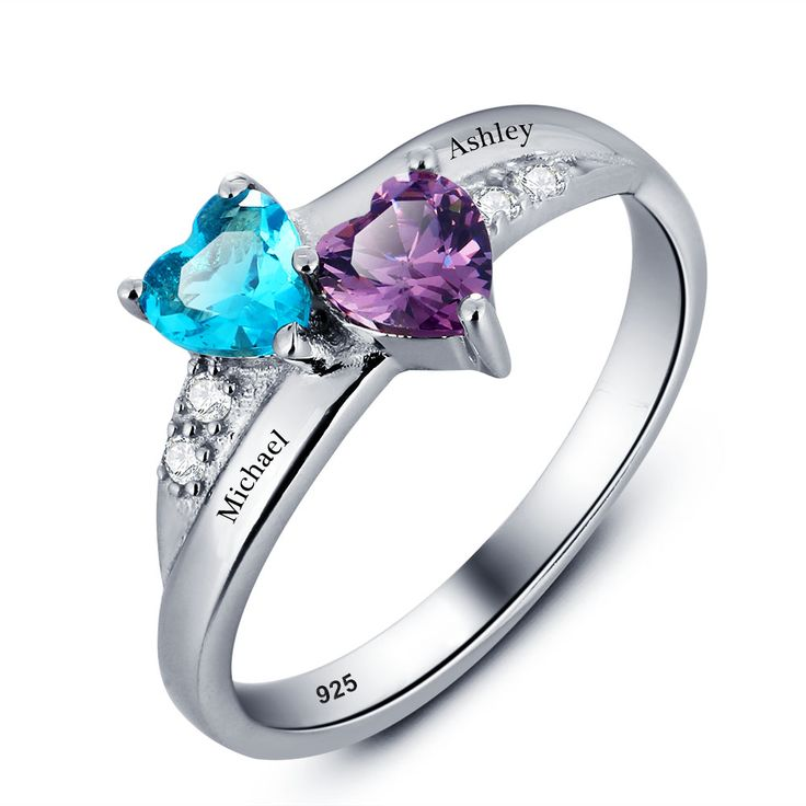 Personalized Engrave Birthstone Heart Couples Ring 925 Sterling Silver