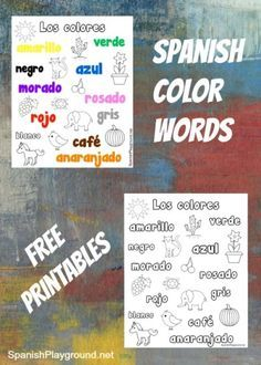 Spanish color words on Spanish coloring pages.   Also a simple Spanish reading activity. http://spanishplayground.net/spanish-color-words-printable-coloring-pages/
