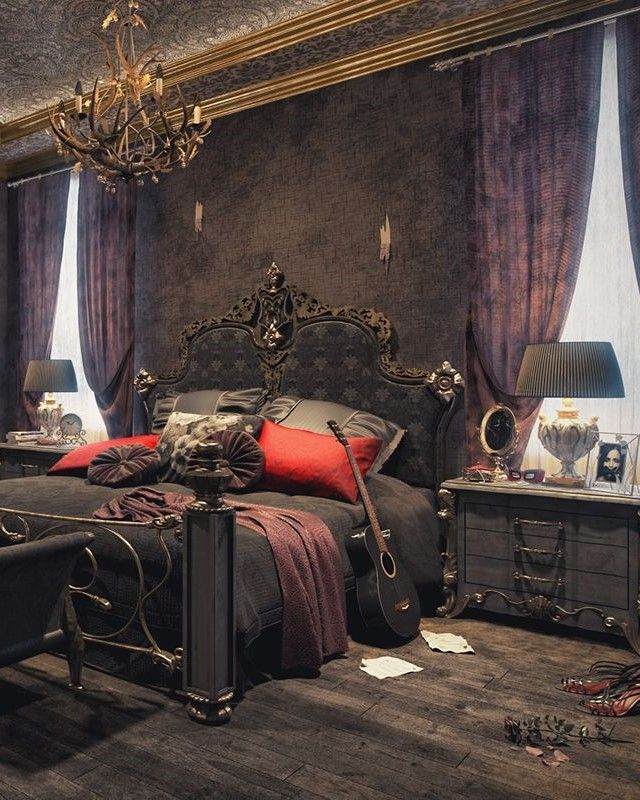 25 Inspiring Gothic Bedroom Idea To Try For The Next Halloween Gothic Decor Bedroom Gothic Room Gothic Bedroom
