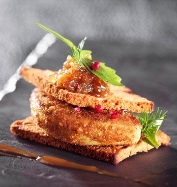 Escalopes de foie gras en chapelure de pain d'épices - Repas de Noël - Recettes de cuisine Ôdélices