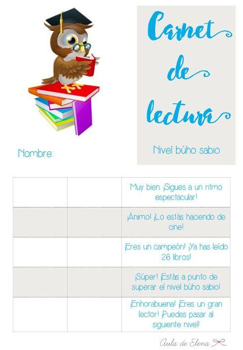 Cortesía de Beléntecaria: Carnet de lectura nivel BÚHO SABIO del blog Aula de Elena. Descargable gratis.