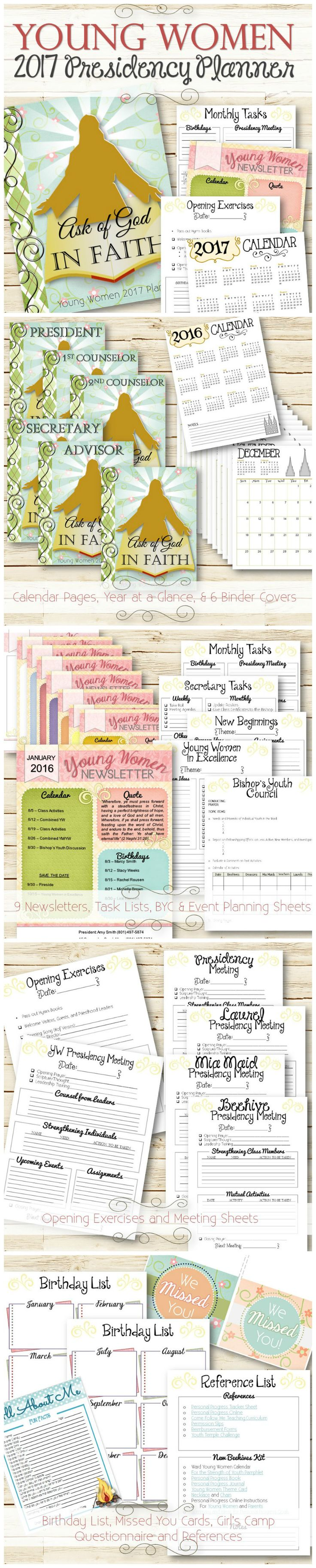 A stylish way to make managing all the responsibilities and tasks in the LDS Young Women's Program simple and easy. The planner includes over 40 pages with calendars, newsletters, missed you cards, birthday lists, presidency meeting agendas, new Beehive Kit, planning sheets, BYC agenda, conducting sheets and more!