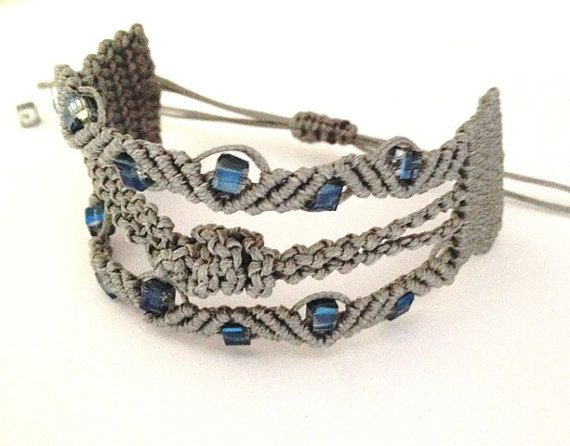 Macrame jewelry grey special modern hand knotted by morenamacrame