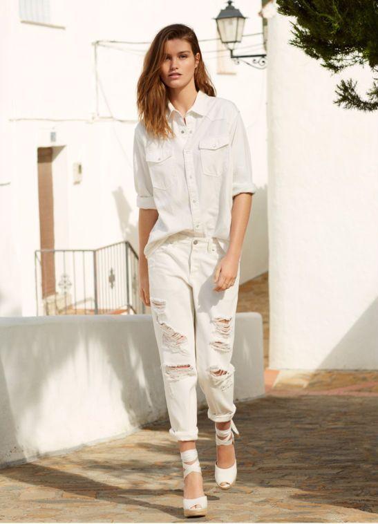H&M Biały Denim - Białe ubrania, jeans i casual na lato 2017
