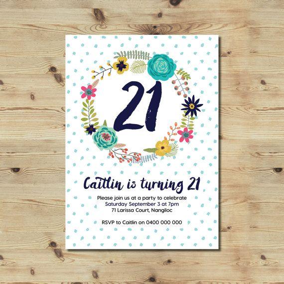 21st Birthday Invitation  Custom Made  Floral  Polka Dots