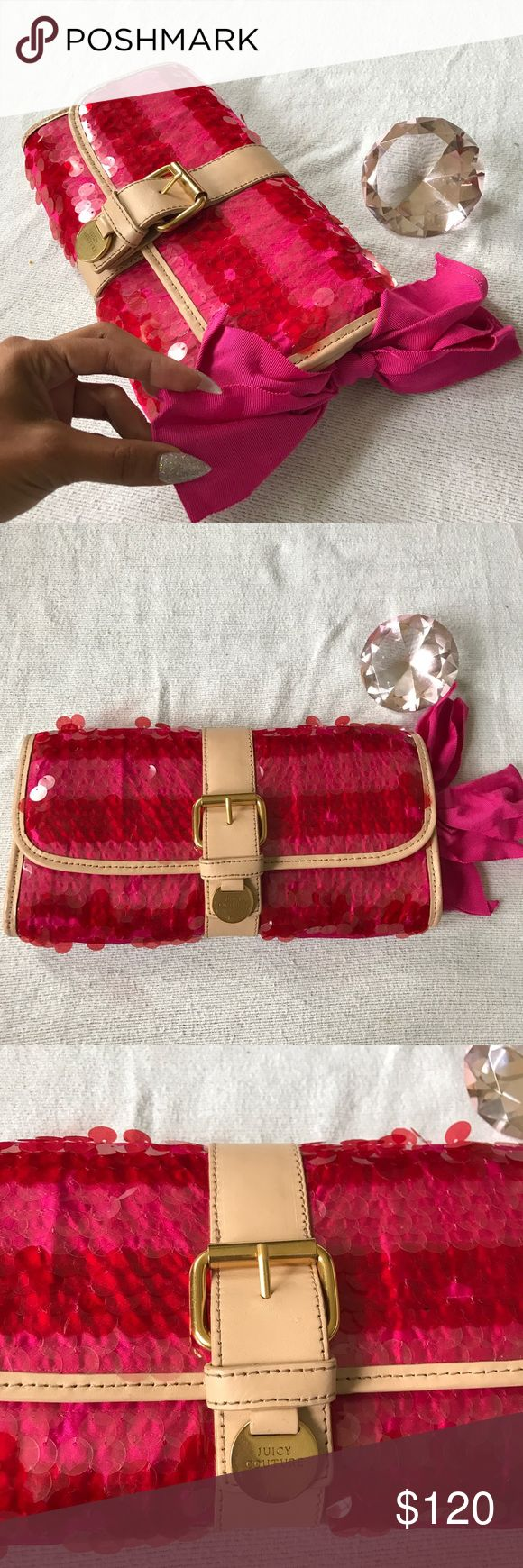 💝💕 juicy couture women's clutch purse 💝💞 This is one of the most unique pieces from juicy couture💝💕 this clutch purse is decked out in pink, covered in sequin on from with a beautiful big hold buckle with magnet snaps to close it. The back is weaved worn straw,,, big beautiful bow on side and nude trims.  This is a gorgeous gorgeous purse.💕💝💞 never been used Juicy Couture Bags Clutches & Wristlets