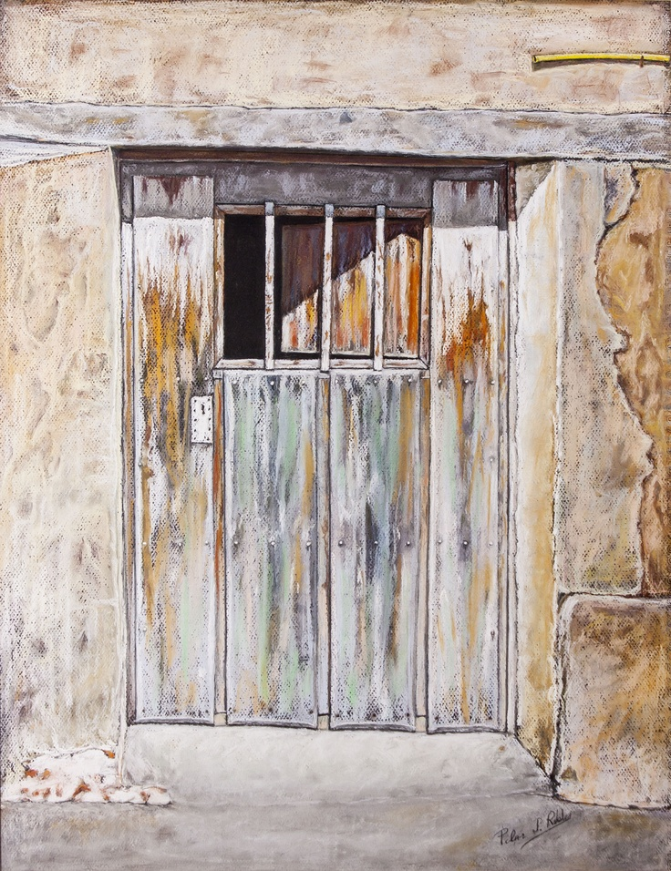 Pilar S. Robles. Puerta de establo. Pastel. 81x66.