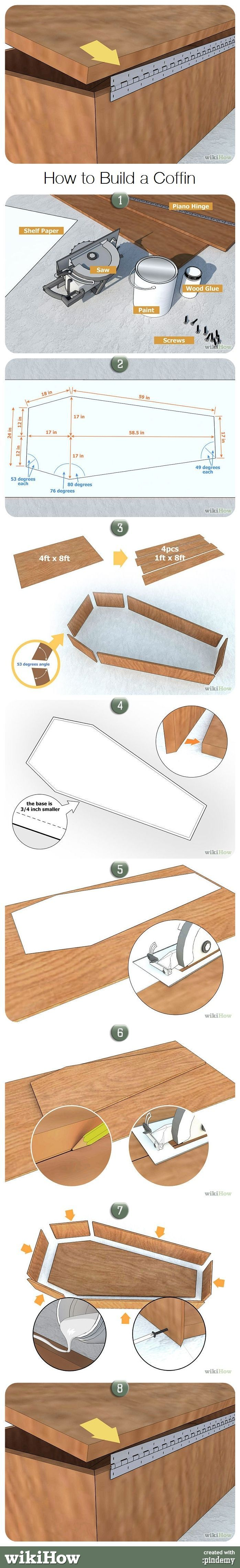 How to Make a Halloween Graveyard • Ideas and tutorials, including these complete coffin plans by 'Wikihow'!