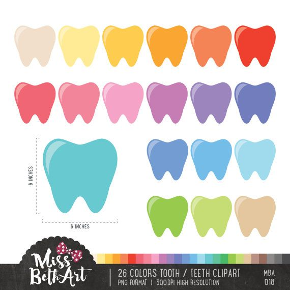 26 Colors Tooth Clipart. Teeth Clipart Instant by Missbethart