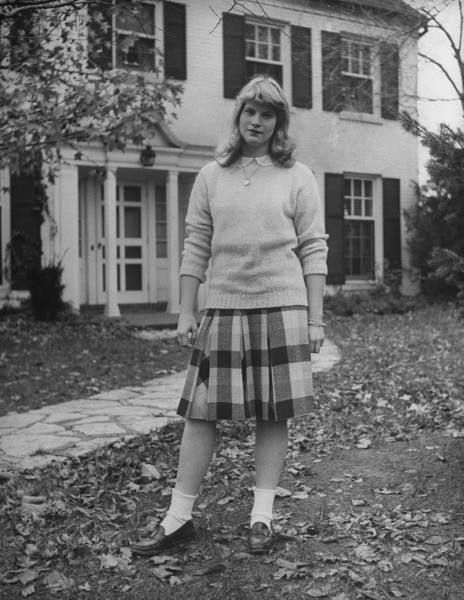 High school attire - sweater, peterpan collar blouse, plaid skirt, bobbysox and pennyloafers - 1944 by Nina Leen