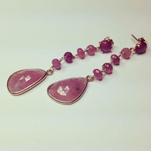 Orecchini in argento 925 placcato oro rosa con corindoni