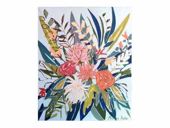 Floral Painting Flowers from Mallorca Flowers by Lunartics on Etsy