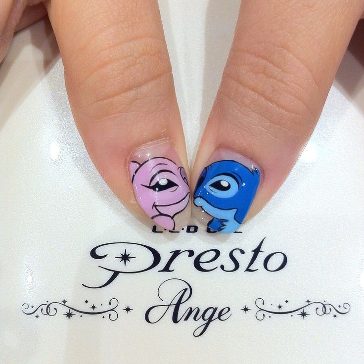 #lilo and #stitch painstakingly recreated on #nails by #manicurious // #nail #artist: gwynes // branch: manicurious at 49 tras street // nail #art price: $25 per nail #movie #animation #cartoon