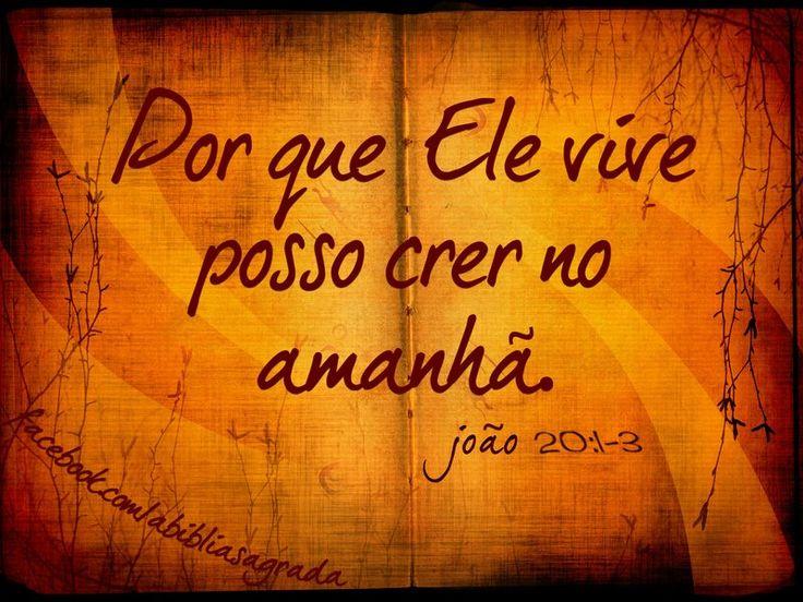 """""""Porque Ele vive, temor não há. Mas eu bem sei, eu sei, que a minha vida está nas mãos do meu Jesus, que vivo está!""""                                                                                                                                                      Mais"""