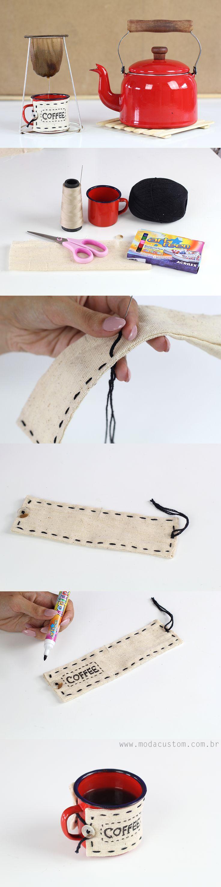 Aprenda a fazer uma roupinha de caneca rústica! Veja o tutorial completo e em vídeo no blog!