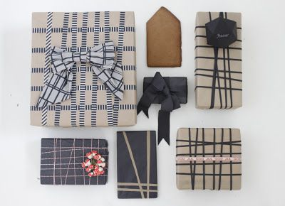 Chic neutral gift wrap.