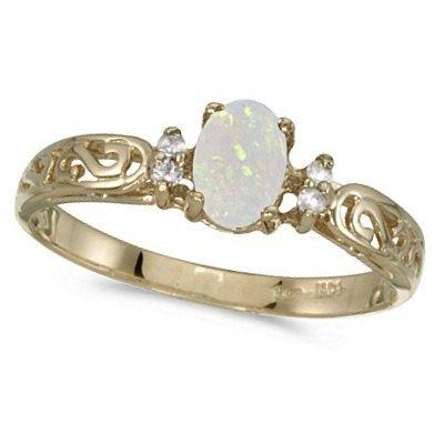 Opal & Diamond Antique Style Ring 14k Yellow Gold by Allurez, $299.25