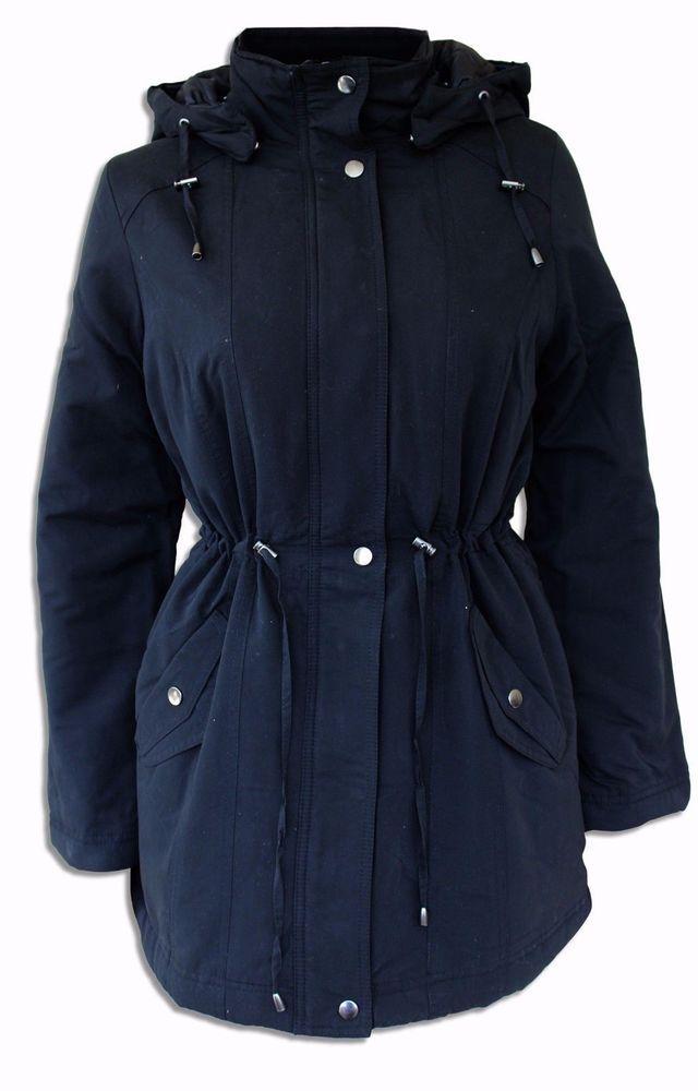 BHS Ladies Parka Jacket Coat Black 10 12 14 16 18 20 New Hood Quilted