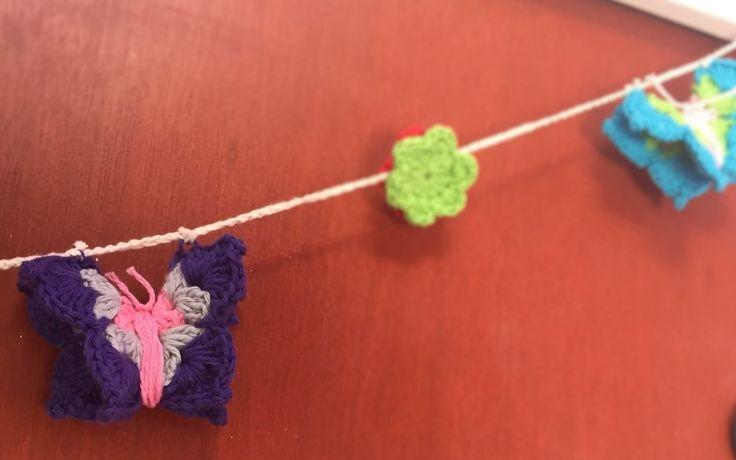 Guirnalda  Mariposas a crochet.  Ideales para decorar cuartos, balcones, ambientes, etc. #vintage #home #lifestyle #handmade #decorhome #diseño #homestyle #tiendaonline