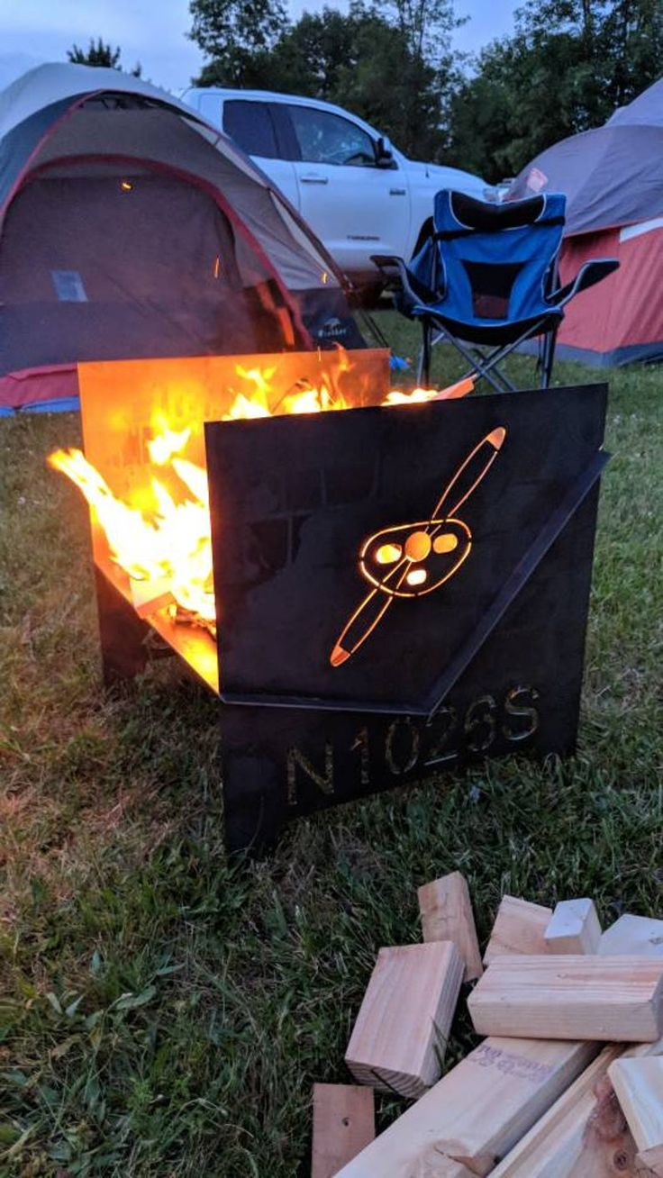 Airplane Themed Customized Fire Pit Breaks Down Flat for