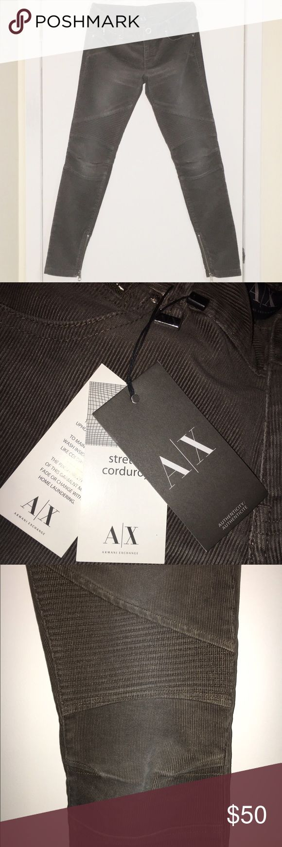 Armani Exchange Corduroy Stretch Moto Pants ✔️NWT ✔️Grey/Olive Color  ✔️Moto Style with design on lower thigh/knee area  ✔️Zippers at ankle ✔️Snap Closure at waist A/X Armani Exchange Pants Skinny
