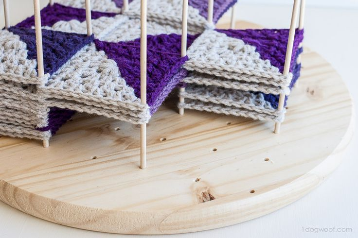 Wooden crochet blocking station | www.1dogwoof.com (instructions on how to make).