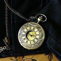 ブロンズポケットをスチームパンクの男性はヴィンテージの大きなローマ数字のファッションクォーツ懐中時計のネックレスの腕時計を見る