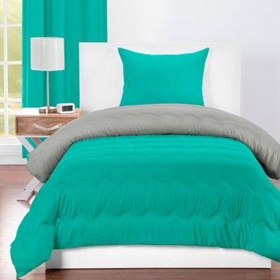 Crayola Tranquil Teal Comforter Sets (Full/Queen), Green Gray