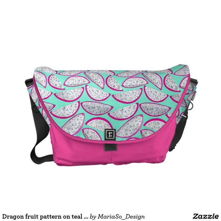 Dragon fruit pattern on teal background courier bag