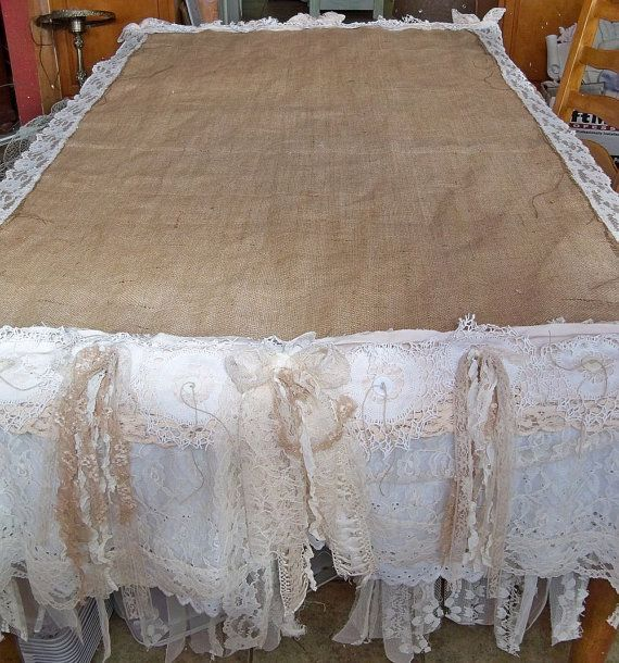 Burlap white lace tablecloth romantic shabby by AnitaSperoDesign, $175.00