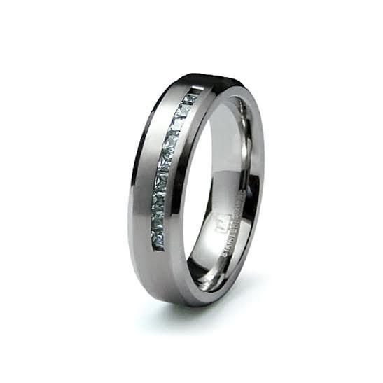 R047002 - Men's Channel Set Cubic Zirconia and Stainless Steel Ring
