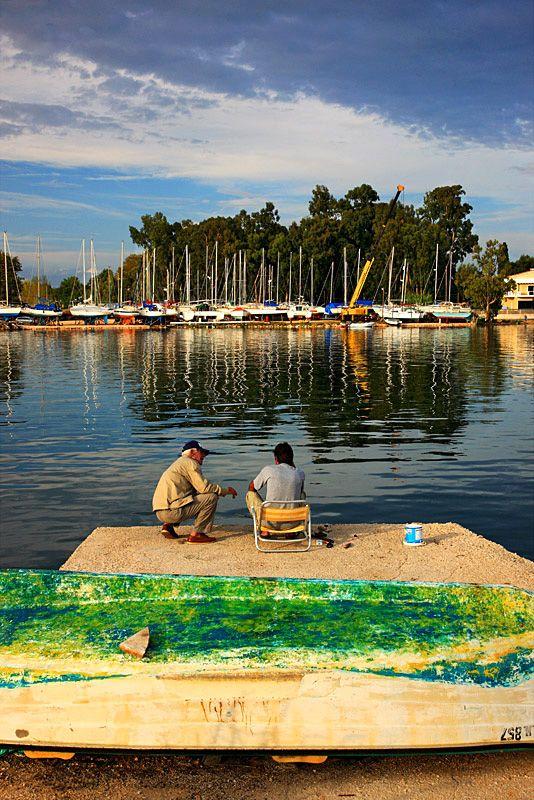 Fishing in Margarona Lagoon in Preveza, Epirus_ Greece