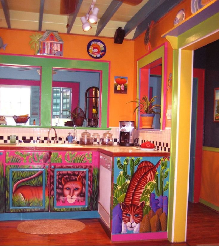 ... The Kitchen With Lots Of Colors. Panels Of Bright Paintings On The  Refrigerator And Diswasher And The Door To The Laundry Room. BOHEMIAN HOME, Decor,